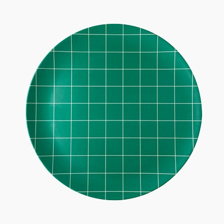 Green Grid Dinner Plate - 4 set