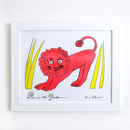Lion in The Grass Risograph Print