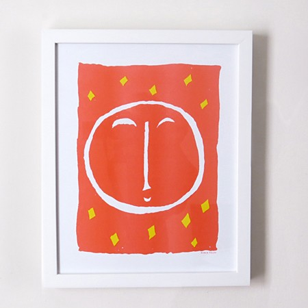 Red Moon Risograph Print