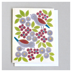 Brown Birds & Leaves Card