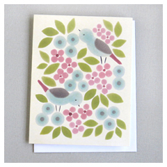 Pink Birds & Leaves Card
