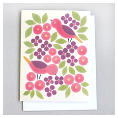 Red Birds & Leaves Card