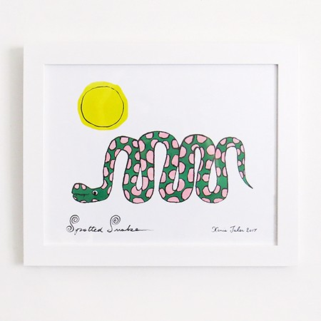 Spotted Snake Risograph Print