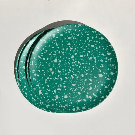 Terrazzo Green Side Plates   <p> Set of 4 </p>