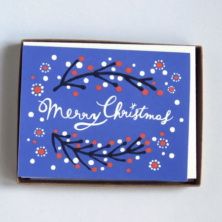 Merry Christmas Card - Blue